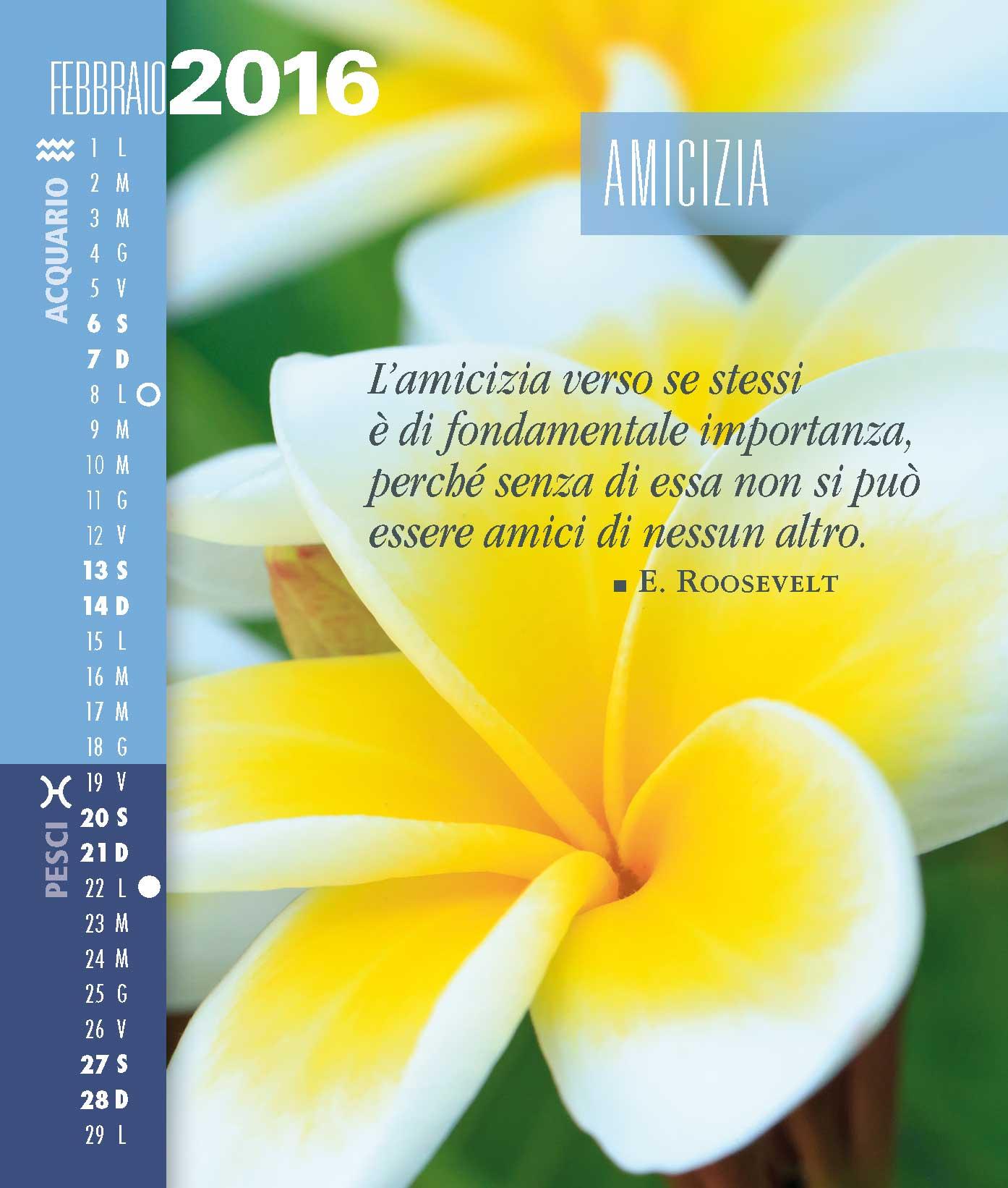 Calendario SegniSimboliParole 2016 Mese Febbraio