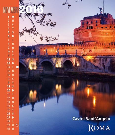 Calendario 2016 RomaColoriAtmosfere. Novembre. Castel Sant'angelo Roma